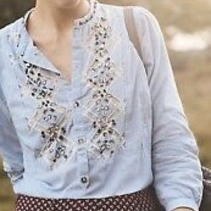Anthropologie Floreat Stripped lace Beaded Top